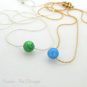 Ball opal pendant necklace