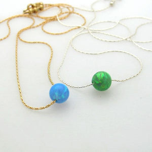 Sterling Silver and Green Opal Necklace