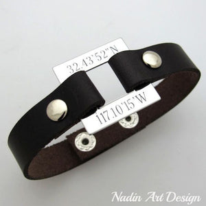Washer Engraved leather bracelet