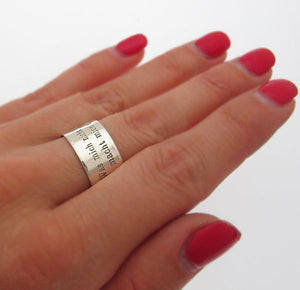Text Engraved Sterling Silver Band Ring