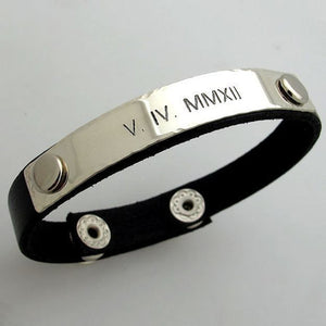 Custom ID Leather Bracelet for Men