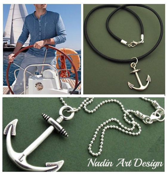 Anchor pendant cord necklace