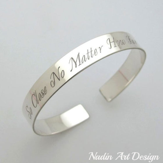 Inscription Personalized Cuff Sterling Silver Bracelet