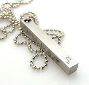 Musical Gift - Power, Play, Pause, Stop, Eject 4 sided bar necklace