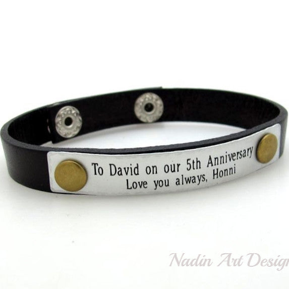 Personalized Leather Cuff Bracelet - Anniversary Gift
