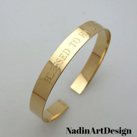Custom Inspirational Personalized Gold Cuff - engraved gold filled cuff
