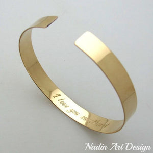 Engraved gold cuff bracelet