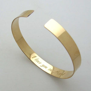 inside engraved gold bracelet - text engraved cuff