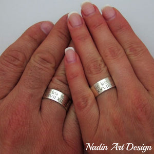 Couple Rings - Engraved silver rings - personalized bands