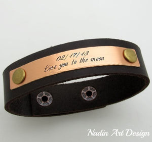 Leather engraved cuff
