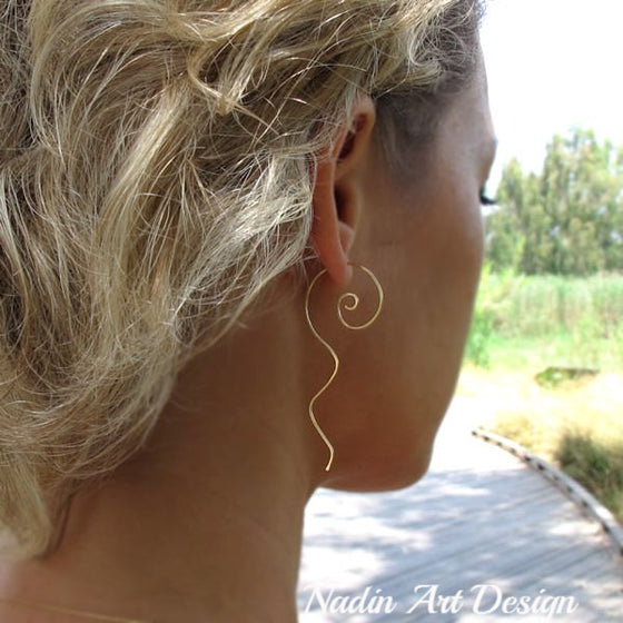 Gold Swirl Earrings - Artisan Jewelry