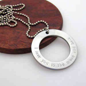 Large Washer Disc Pendant Necklace