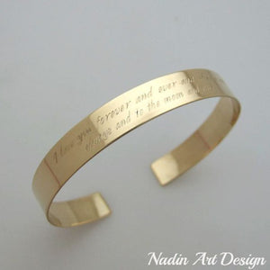 Text engraved custom gold cuff