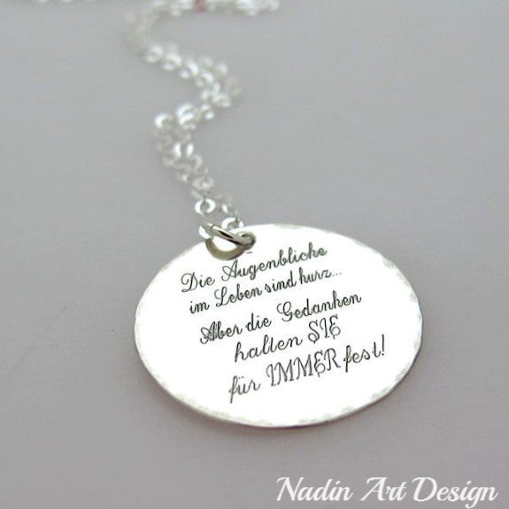 Personalized quote silver necklace custom engraved pendant nadin personalized quote silver necklace engraved round silver pendant necklace aloadofball Gallery