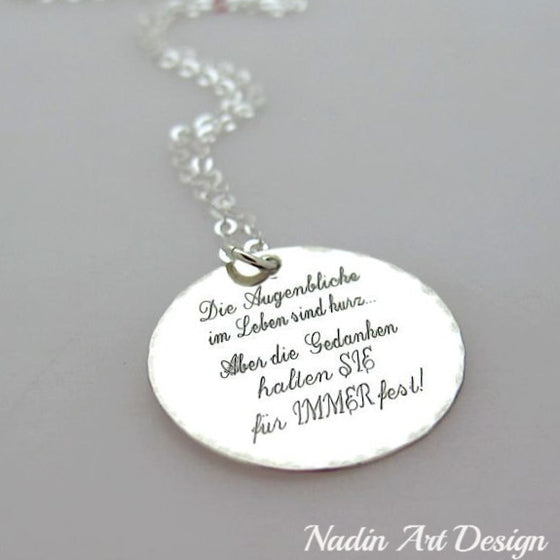 Inspirational necklaces inspirational quotes jewelry engraved round silver pendant necklace aloadofball Images