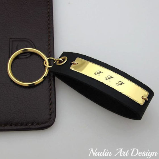 Leather and gold engraved key chain