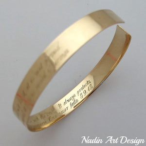 Engraved gold cuff for women