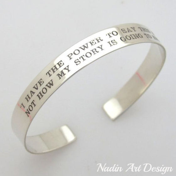 Custom engraved silver bangle cuff