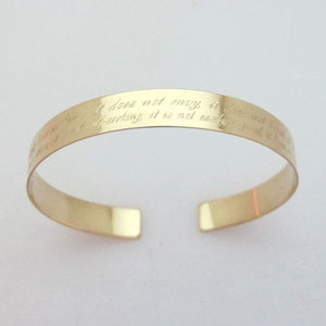 Secret Message Bracelet - Engraved Gold Cuff