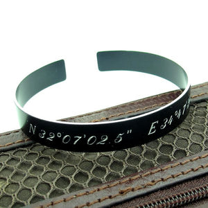 Men's Personalized Black Cuff Bracelet for Him