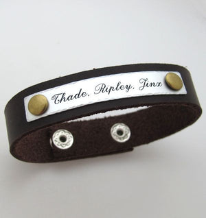 Engraved Handwriting Bracelet for Men - Personalized Gift
