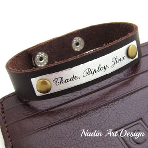Adjustable custom leather bracelet