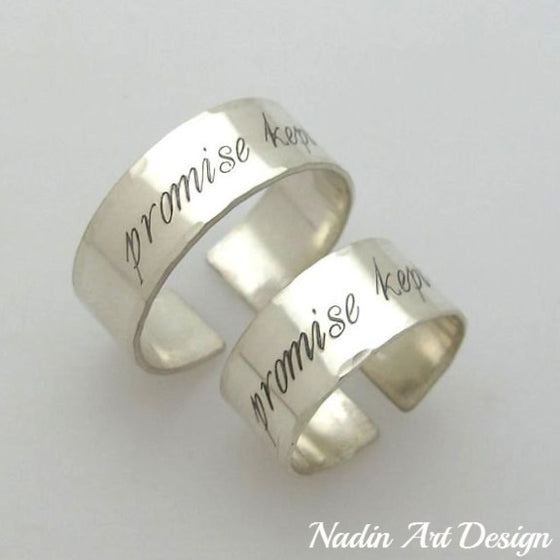 Silver band rings set