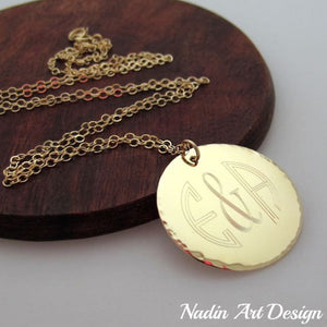 Gold Monogram Pendant Necklace