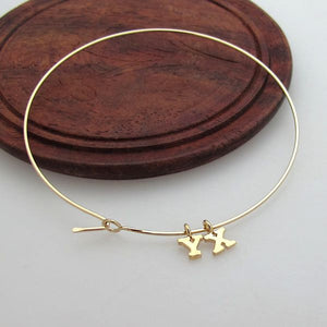Gold Bangle Bracelet with Custom Initials Charms