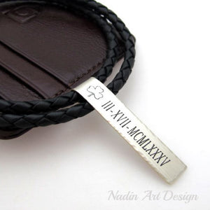 Date pendant braided cord necklace