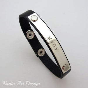 Leather Cuff Nameplate Bracelet