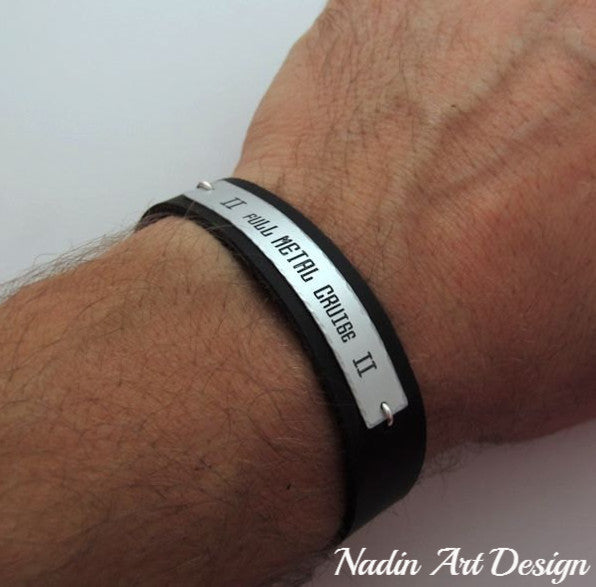 Nameplate leather cuff bracelet