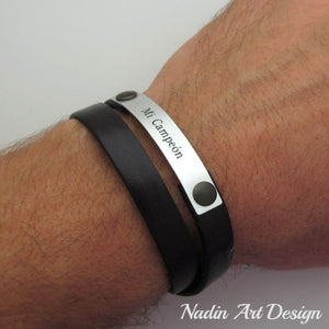 Double leather bracelet with engraving - Custom mens bracelet for husband