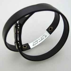 Double Wrap Personalized Leather Bracelet
