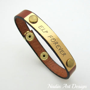 Brown leather bracelet with engraving