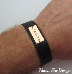 Date engraved custom leather bracelet
