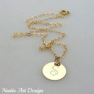 Gold charm initial necklace