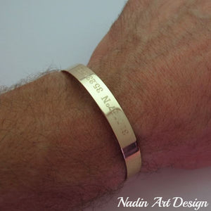 Gold engraved cuff bracelet for men -  Mens Bracelet with Latitude Longitude coordinates