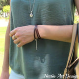 Wrap leather bracelet with initial charm