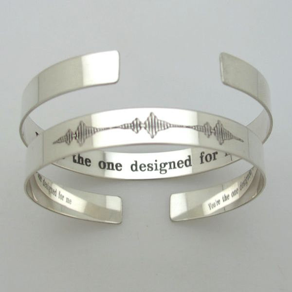 soundwave cuff personalized gift for him her sterling silver