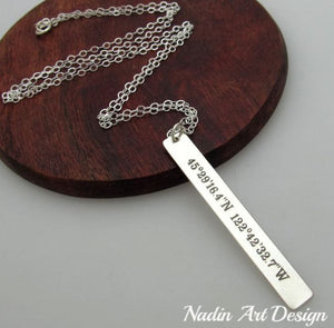 Silver GPS Location Necklace