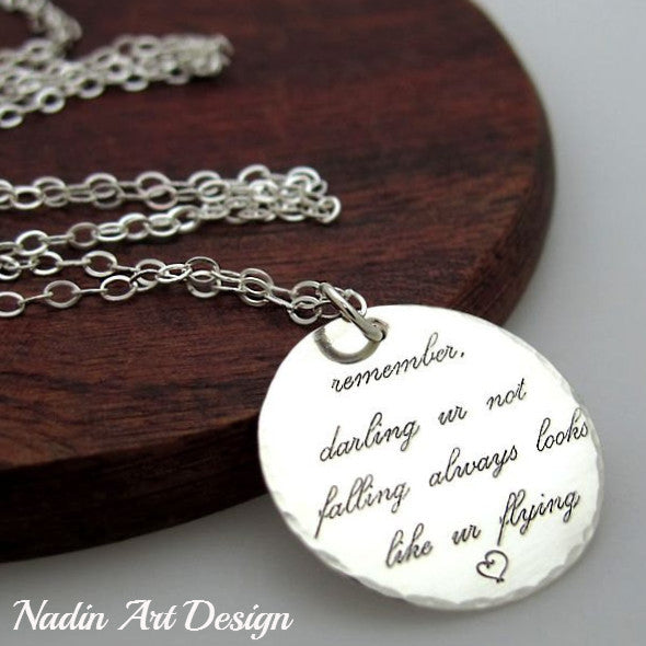 Inspirational Sterling Silver Personalized Quote Necklace