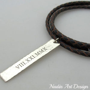 Braided cord necklace with engraved tag pendant