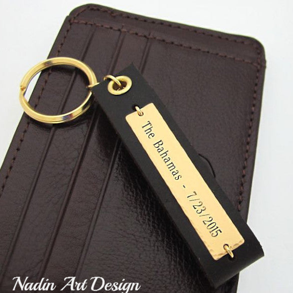 Leather and gold keychain with engraving