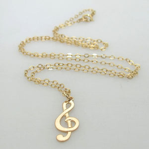 Gold Treble Clef Pendant Necklace