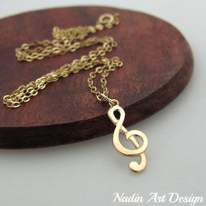 Gold note music necklace