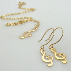 Gold Filled Treble Clef Earrings