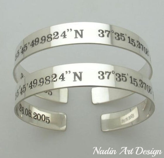 Coordinates Bracelet - Two Side Engraved Cuff