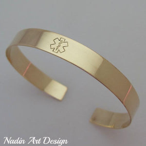 Gold ID medical metal bracelet