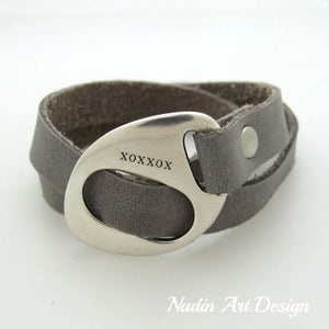 Leather Wrap Gray Bracelet